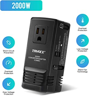 TRYACE 2000W Travel Voltage Converter Step Down 220V to 110V, Travel Power Converter Adapter Combo International 8A Adaptor Plug Worldwide Wall Charge for UK/AU/US/EU Over 200 Countries