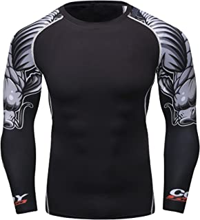 Fanii Quare Men's Soft Fit Long Sleeve Workout Rashguard Cool Dry Compression Fitness Shirt