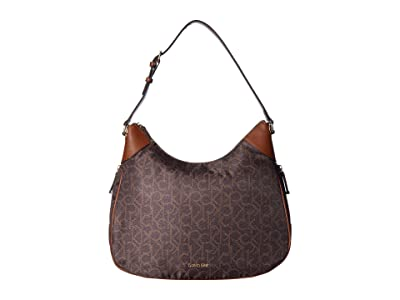 Calvin Klein Abby Nylon Hobo (Brown/Khaki) Hobo Handbags