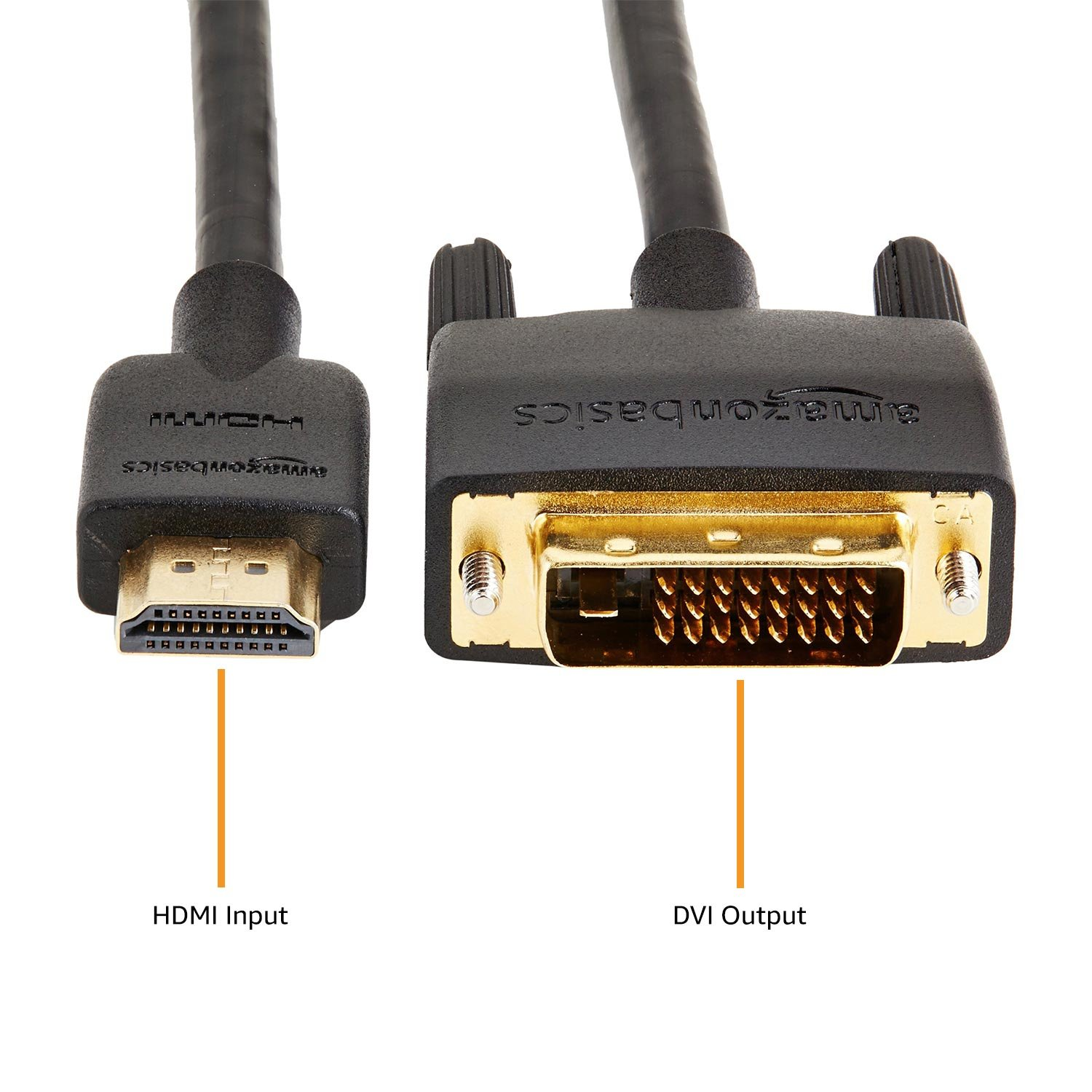 Amazon Basics HDMI to DVI Adapter Cable, Black, 6 Feet, 1-Pack