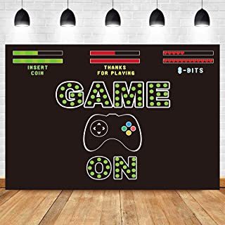 Fanghui 7x5ft Video Game on Party Photography Backdrop Kids Retro Gaming Boy Birthday Baby Shower Party Background Banner Supplies Photobooth Props Decoration