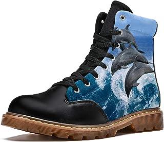 LORVIES Ocean Sea Dolphin Bottes d'hiver Chaussures Montantes en Toile à Lacets pour Hommes