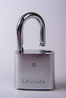 Sesamee KCR0436 4 Dial Bottom Resettable Combination Chrome Plated Padlock with 1-Inch Hardened Steel Shackle and 10000 Potential Combinations