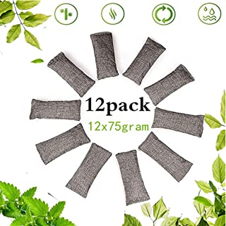 qiqibaobao 12 Packs Natural Air Purifying Bags, Each Pair Mini Bamboo Charcoal Bags 150g,Shoe Deodorizer and Odor Eliminator,kitchen, Closets Shoes and and Office,Gym Bag Shoe Deodorizer Value Pack