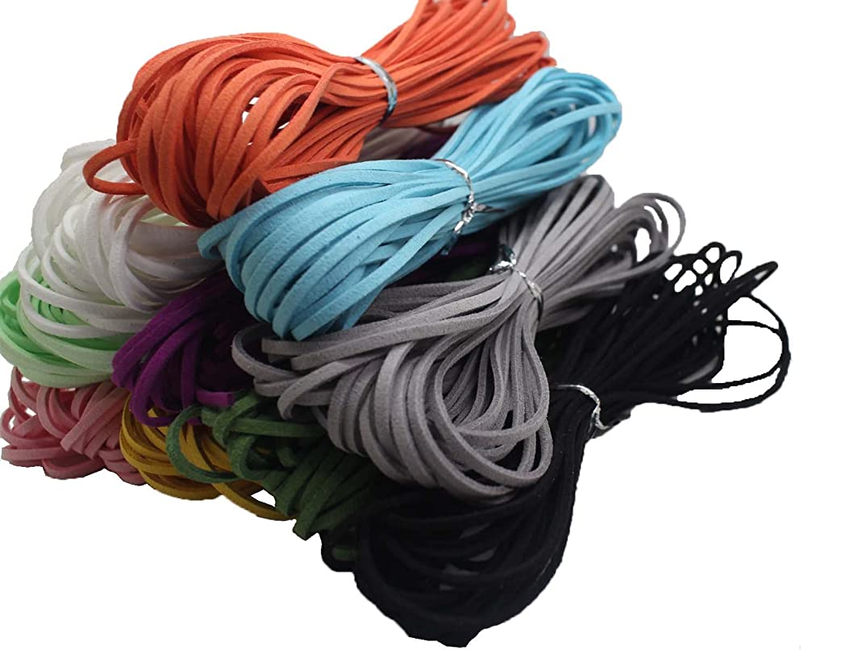 100 Yards 2.6mm 10 Bundles Suede Korean Velvet Leather Cord String Rope Thread 1.0mm Thickness Korean Suede Leather, Suede Leather String Leather