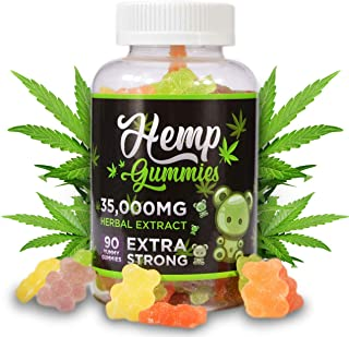 Juve Naturals Premium Hemp Gummies | Sleep, Pain, and Anxiety | Made in USA with Hemp | 100% Natural and Safe | 35,000mg in 90ct Tasty Gummies | Omega 3, 6, 9