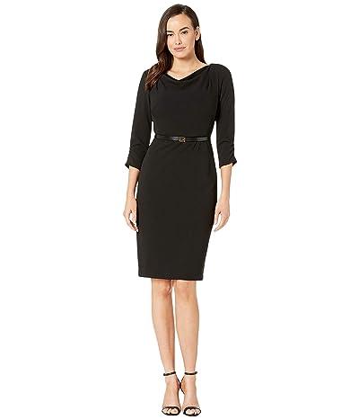 Calvin Klein Belted Cowl Neck Dress (Black) Women
