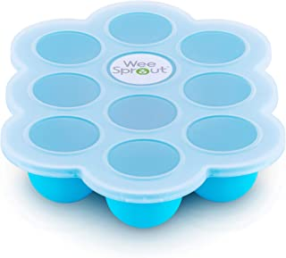 Silicone Baby Food Freezer Tray with Clip-on Lid by WeeSprout – Perfect Storage..