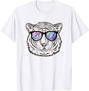 Neon Tiger Animal T-Shirt Party Sunglasses Rave 80s Tee