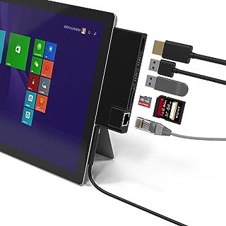 「最新型」Microsoft Surface Pro 4/Pro 5/Pro 6 用USB 3.0 ハブ 6in1ドッキングステーション 4K HDMI ポート + SD&Micro SDカードリーダー + LANポート + 2 USB 3.0...