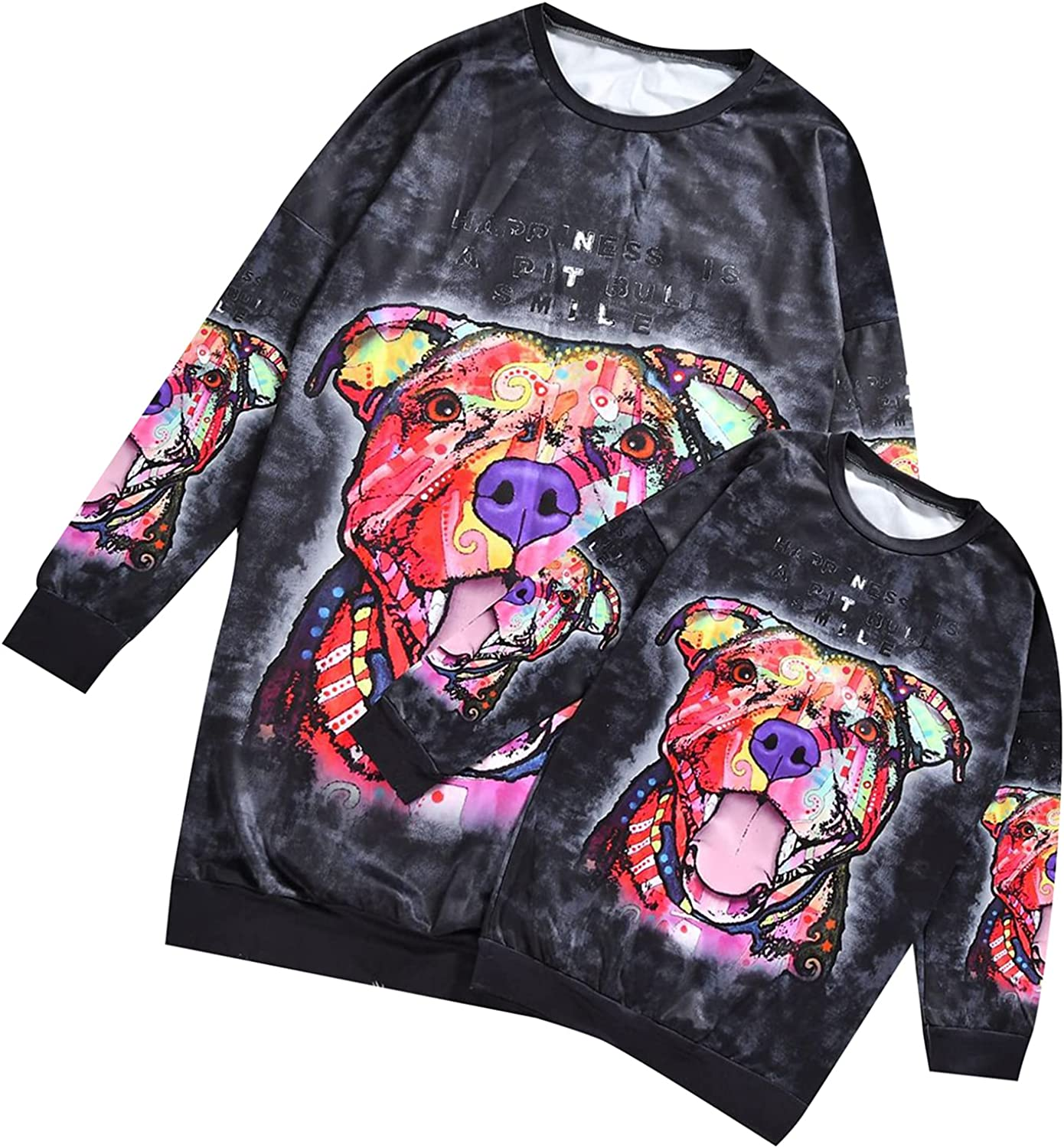 YMING Mommy and Me Animal Printed Sweatshirt Dress Family Matching Outfits Casual Long Sleeve Pullover Tops Plus Size