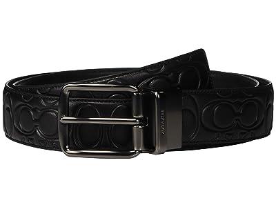 COACH 38 mm CTS Harness Belt in Signature Leather (Black/Black) Men