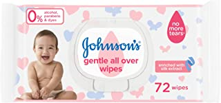 مناديل مبللة للتنظيف اللطيف لكامل البشرة للاطفال من جونسون - 72 منديل