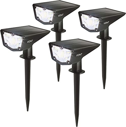 lowest Vont 16 LEDs Outdoor Solar Lights outlet sale [4 Pack] IPX7 Waterproof Landscape Spotlights, Garden Lights, Wireless Solar Powered online Outdoor Lights/Lighting for Yard, Walkway, Driveway, Porch, Patio (Cool White) online sale
