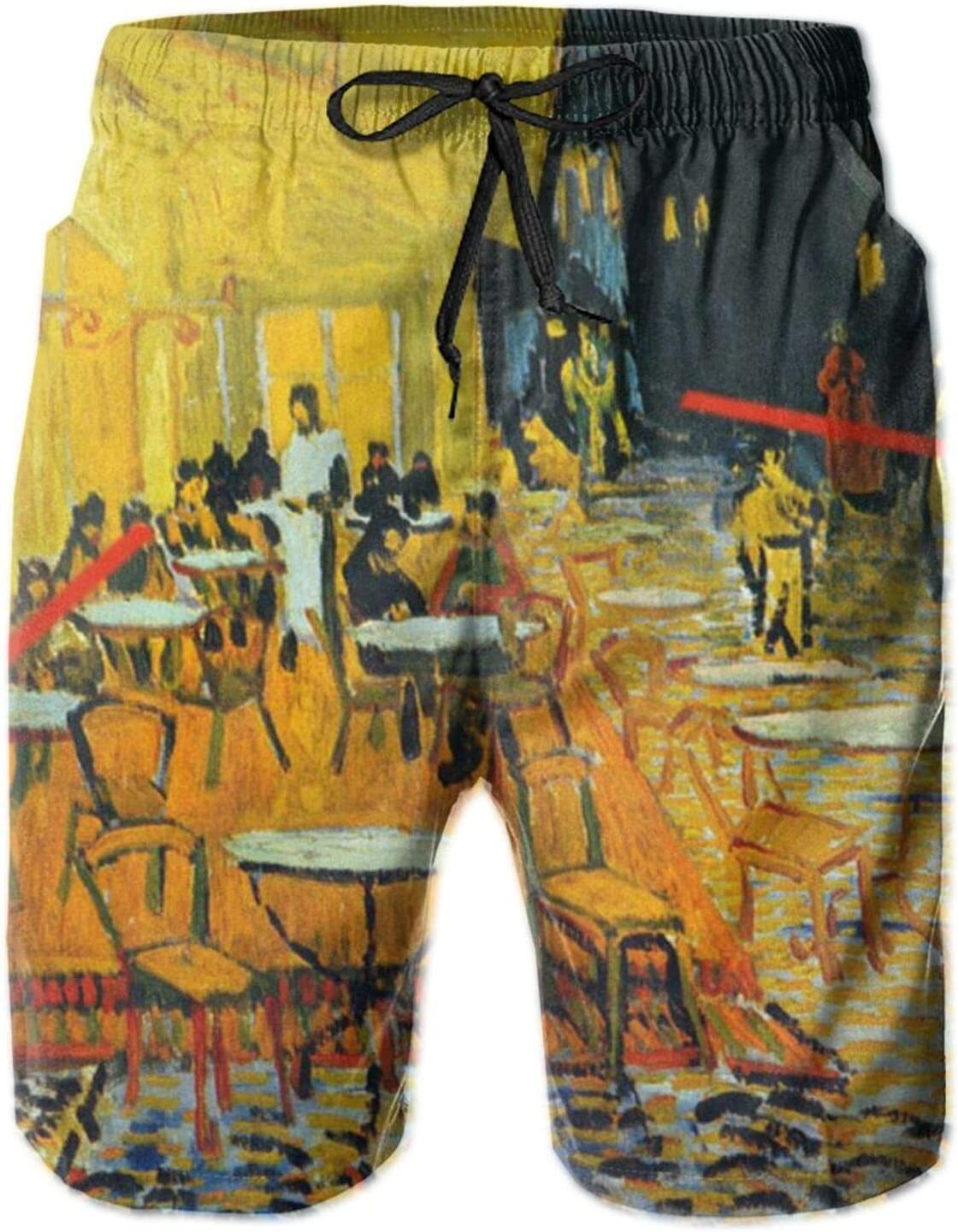 SWEET TANG Mens Boys Comfy Short Swim Trunks Printed Beach Shorts Quick Dry Boardshorts Swim Trunks with Mesh Lining for Beach Sports Running, Colorful Vincent Cafe Painting by Van Gogh Yellow Oil