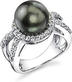 THE PEARL SOURCE 10-11mm Genuine Black Tahitian South Sea Cultured Pearl Leah Ring for Women