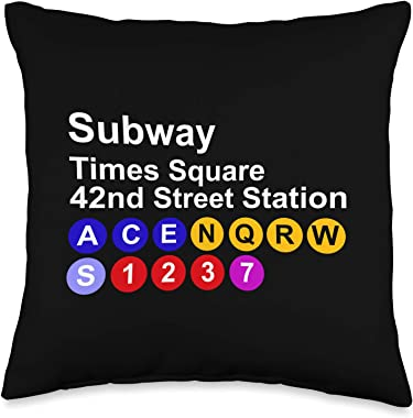 NYC Clothing Company Times Square NYC New York City Subway NY Gift Men Women Kids Throw Pillow, 16x16, Multicolor
