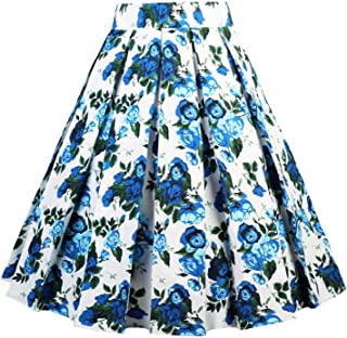 870b91ccb0 Dressever Women s Vintage A-line Printed Pleated Flared Midi Skirts