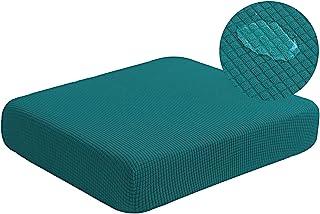 (Loveseat Cushion, Dark Teal) - Water Resistant Stretch Sofa Seat Cushion Covers Stretch Furniture Protector, Soft Flexibi...