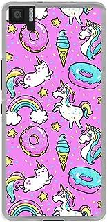 Funnytech/® Funda Silicona para BQ Aquaris M5 Patron Unicornios Donuts Fondo Colores Gel Silicona Flexible, Dise/ño Exclusivo