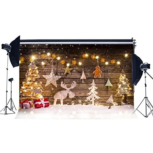 231076793042d Sunny Star 7X5FT/210X150cm Christmas Backdrop Xmas Decoration Tree Reindeer  Bokeh Lights Backdrops for Photography