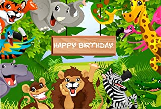 AOFOTO 7x5ft Cartoon Safari Park Animals Backdrop Kids Happy Birthday Party Decorations Fauna Jungle Forest Wildlife Elephant Photography Background Baby Zoo Theme Boy 1st Bday Photo Studio Prop Vinyl
