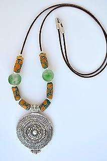 Collana lunga etnica in pelle da donna, gioielli originali e moderni