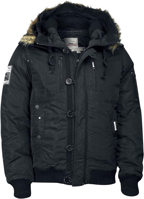 Lonsdale Men Hooded Winter Jacket JARRETH, Color:black;Größe:L