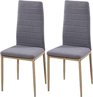 Miroytengo Pack 2 sillas Comedor Cocina Salon Estilo Moderno Tela Color Gris Patas Metal Efecto Madera 98x42x48 cm