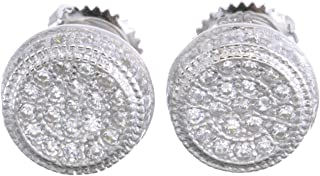 Fashion Bust Down Micro Pave Silver Round Screw Back Earrings 482 S
