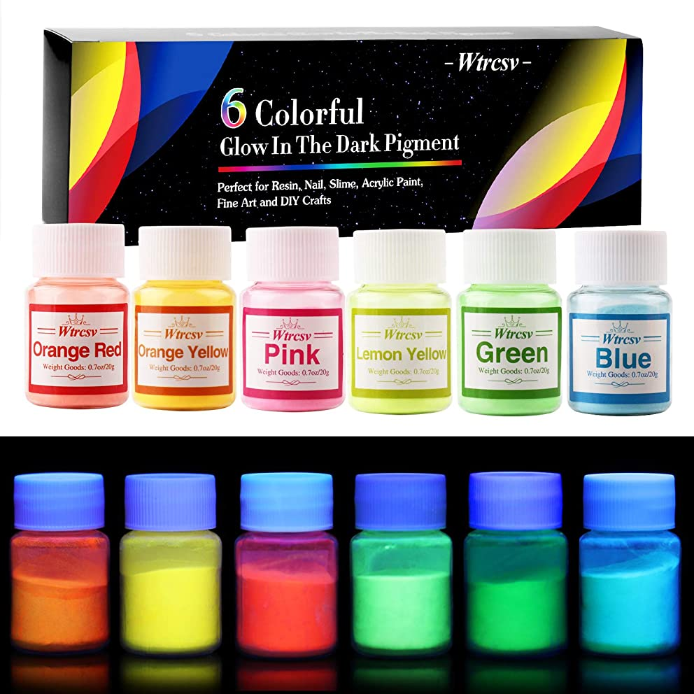 Glow in The Dark Pigment, Wtrcsv 6 Color Luminous Powder Non-Toxic Safety Pigment Powder for Paint, Slime, Nails, Resin, Concerts or DIY - 20g/0.7oz Each(Total 4.2oz)