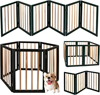 "Goldies 24"" High 6 Panel Dog Playpen, Solid Wood with Bamboo Convertible and Foldable Play Yard and Pet Fence for Small Dogs"