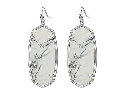 Kendra Scott Faceted Elle Earrings (Rhodium White Howlite) Earring