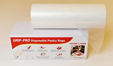 PastryGear Grip-Pro 18-Inch Anti-Slip Ultra Thick Disposable Pastry/Piping Bags with Dispenser (Roll of 100 Pcs)
