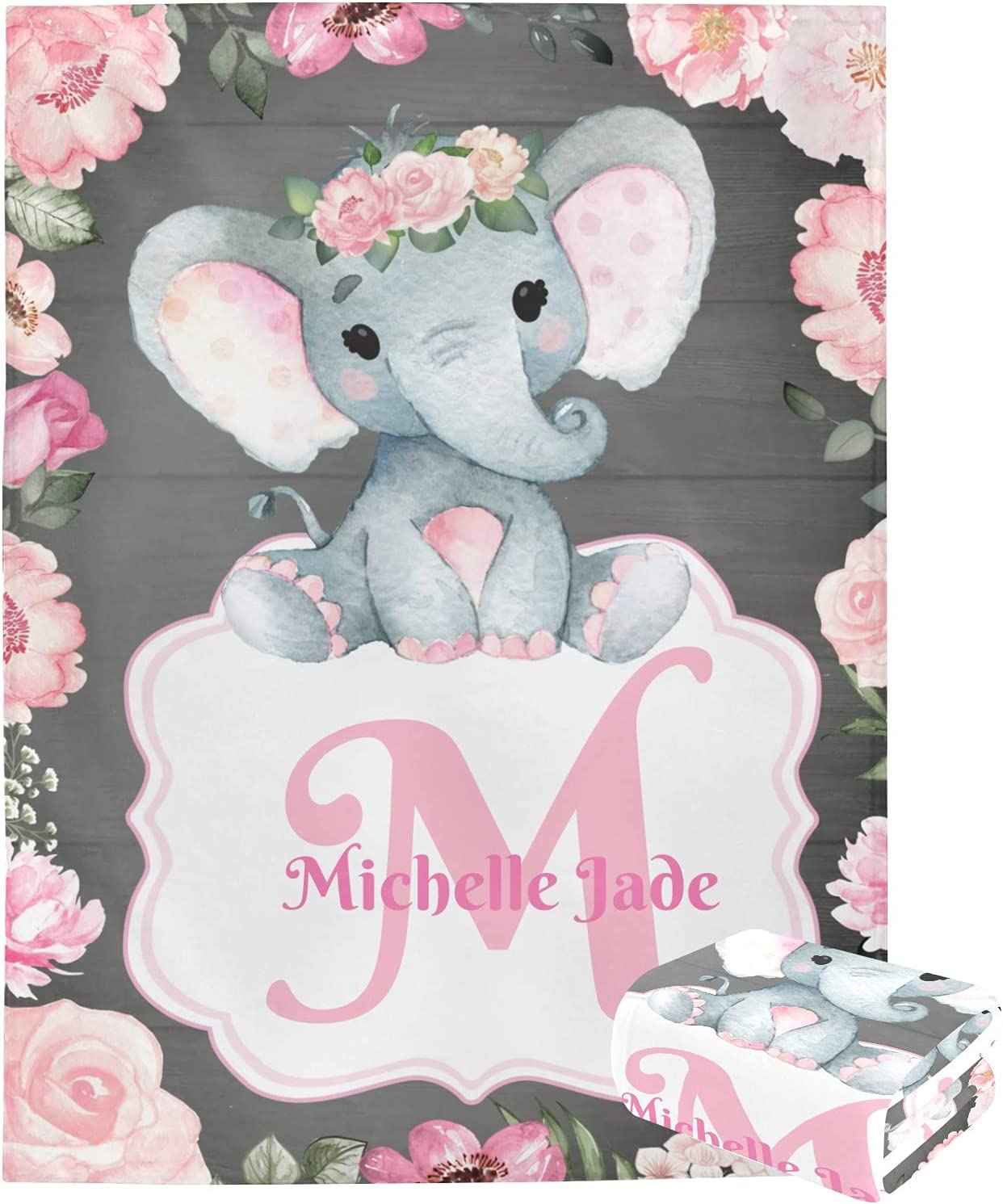 New products, world's highest quality popular! Personalized Throw Blanket Monogram Pink 5 ☆ popular Custom Floral Elephant