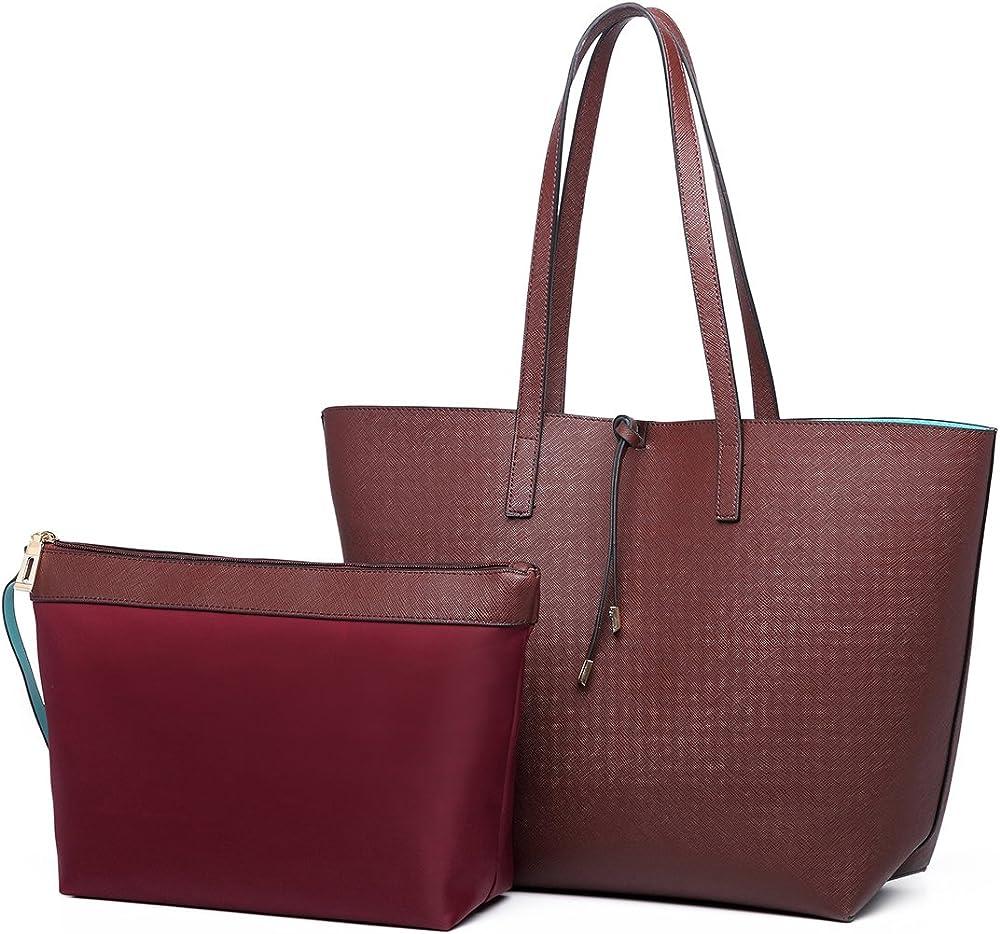 Miss lulu,borsa da donna in ecopelle per donna, piu` borsello in poliestere, marrone LT6628C