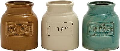 """Deco 79 71261 3 Assorted Ceramic Cutlery Jar, 7"""" by 9"""""""