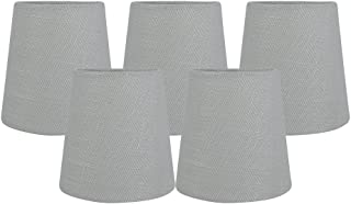 Meriville Gray Linen Clip On Chandelier Lamp Shades, 3.5-inch by 4.5-inch by 4.5-inch (Gray, set of 5)
