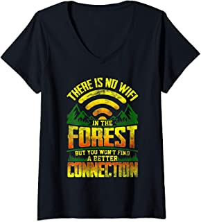 Womens There is No Wifi in The Forest Camping  V-Neck T-Shirt