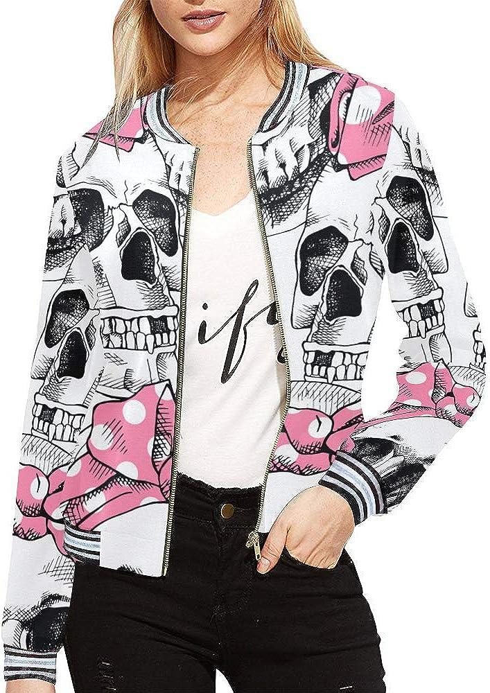 InterestPrint Women's Stand Collar Zip up Pink Skull Print Bomber Jacket Coat