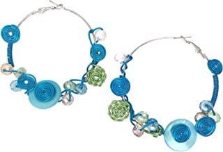 Colorful Wire Art Glass Beads Silver Tone Large Hoop Earrings