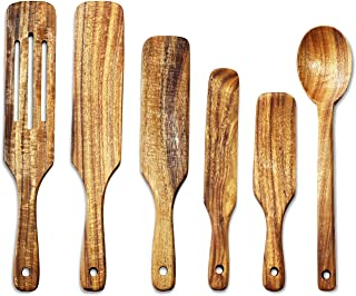 Wooden Kitchen Utensils Set, ADLORYEA 6 Pcs Natural Teak Wooden Spoons for Cooking, Heat Resistant Non Stick Wood Kitchen ...