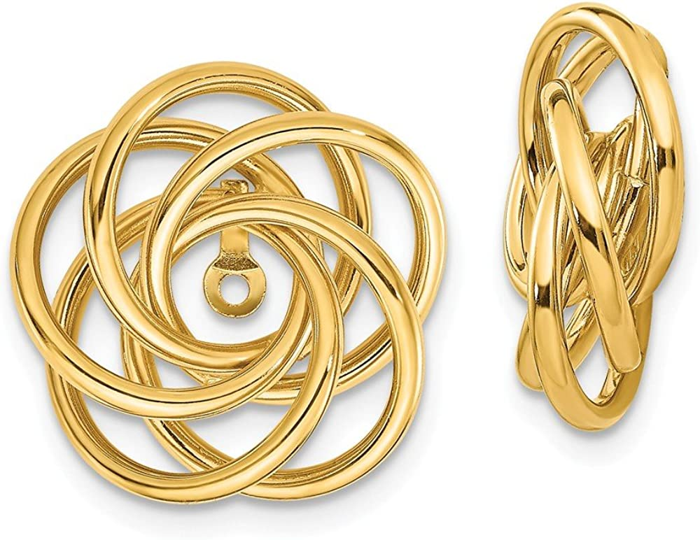 Solid 14k Yellow Gold Love Knot Earring Jackets - 17mm x 15mm