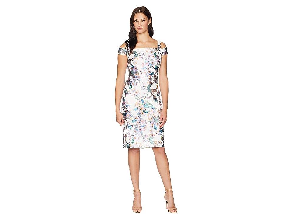 eci Cold Shoulder Foil Floral Printed Scuba Dress (Ivory/Teal) Women