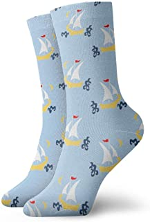 Elsaone, Veleros Calcetines de vestir azules Calcetines divertidos Calcetines locos Calcetines casuales para niñas Niños
