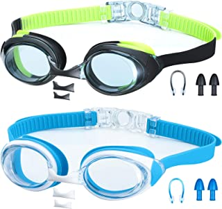 2 Pieces Kids Swim Goggles Swimming Glasses Clear Vision Anti-Fog Waterproof Easy to Adjust Non Slip Flexible Nose Bridge for Toddler Children Girls Boys Youth
