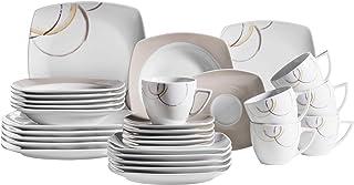 Mäser 931207 Série NELA Service de table 30 pièces en porcelaine avec assiettes, tasses à café, assiettes à dessert pour 6...