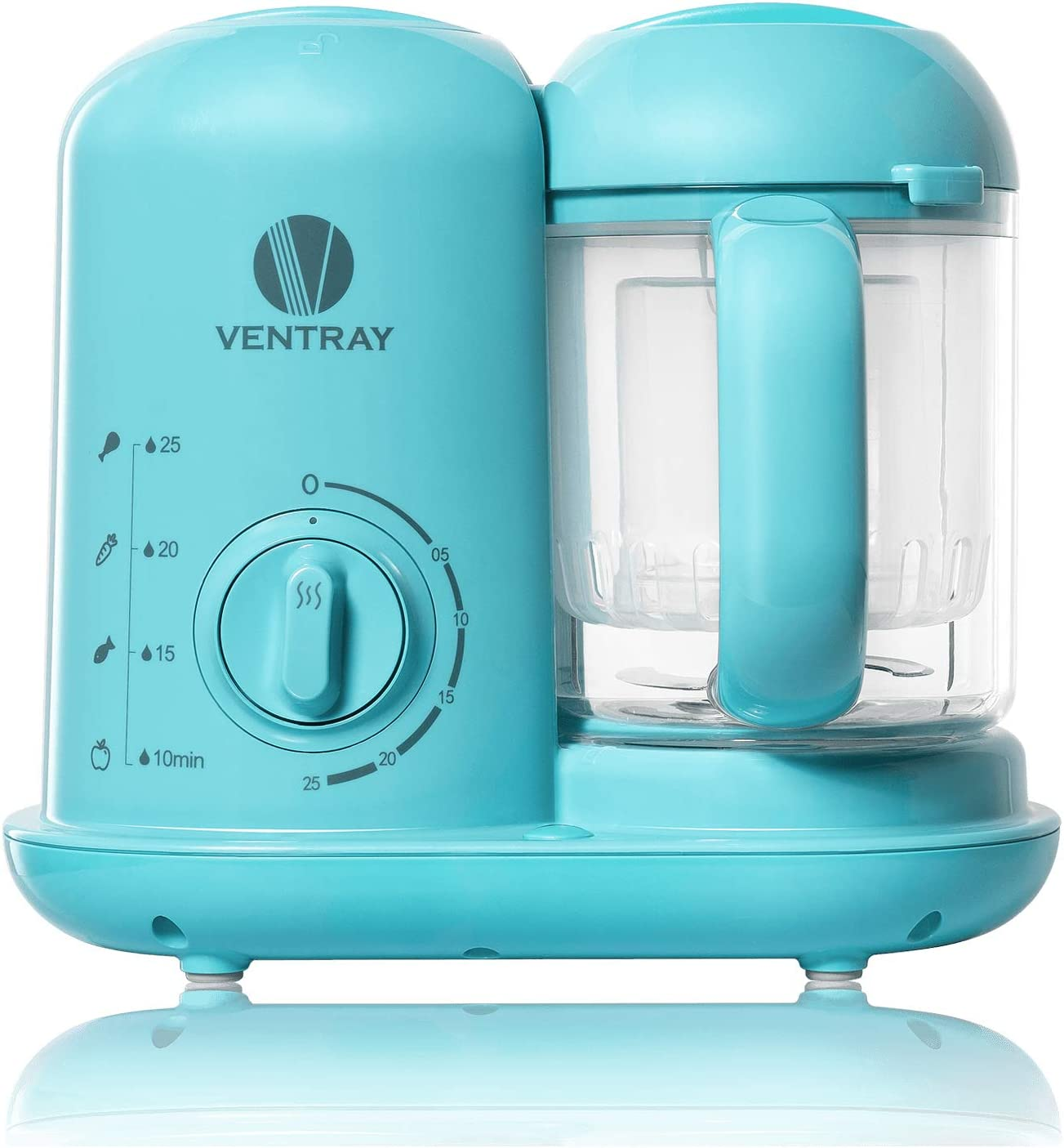 Ventray BabyGrow 100 Baby Food Maker, Puree Food Processor Steamer Blender Cooker Warmer Machine for Baby Toddler, All-in-one Auto Cooking Easy Clean and BPA-Free - Blue