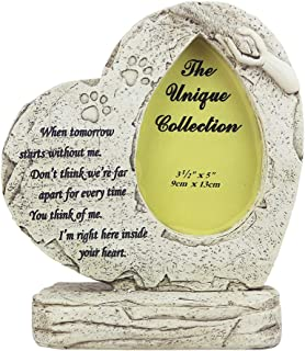 BJSM Dog Memorial Stone, Features a Heart Shaped Photo Frame Modeling,Paw Print,Indoor Outdoor for Garden Decor Pet Grave Marker - Loss of Pet Gift