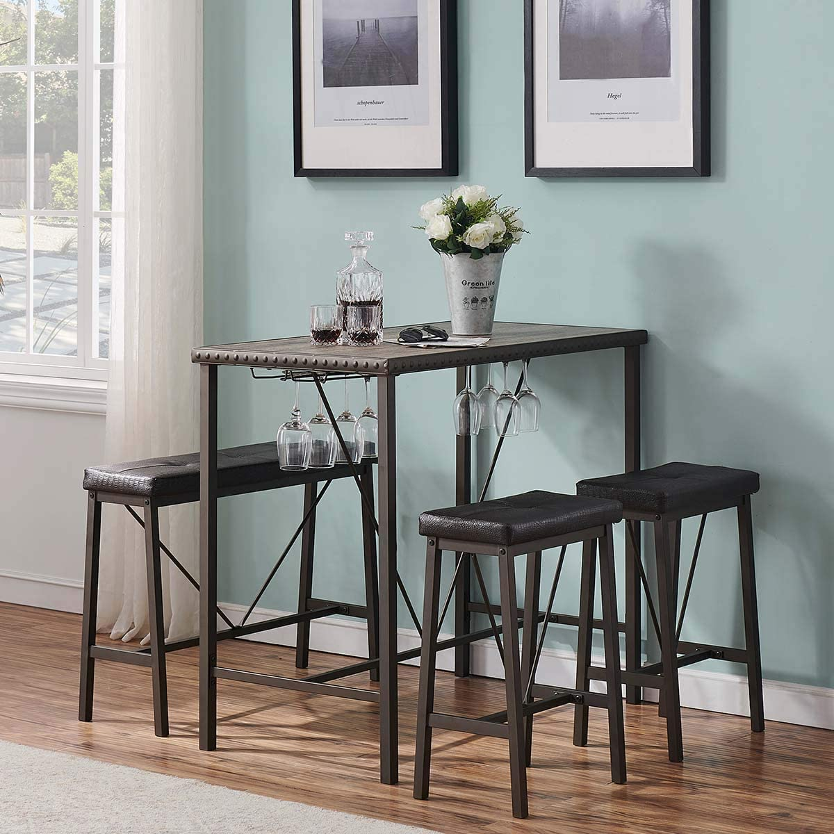 Buy O&K FURNITURE Bar Table and Chairs Set of 9, Industrial Dining ...